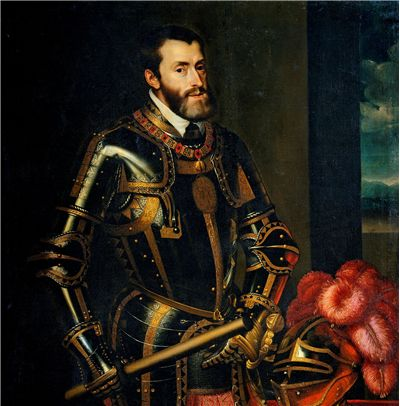 Picture Of Emperor Charles V And Renaissance Era Suit Of Armour